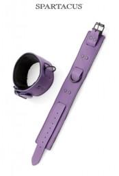 Bracelets chevilles cuir violet Bondage
